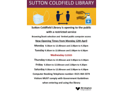 Sutton Coldfield Library - Revised Opening Times