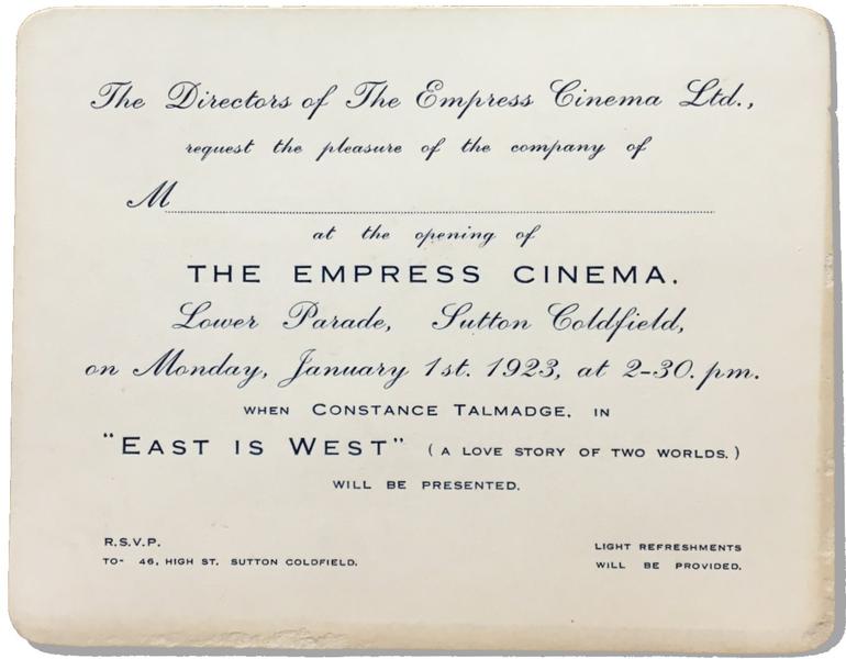 Invitation to Opening of Empress Cinema