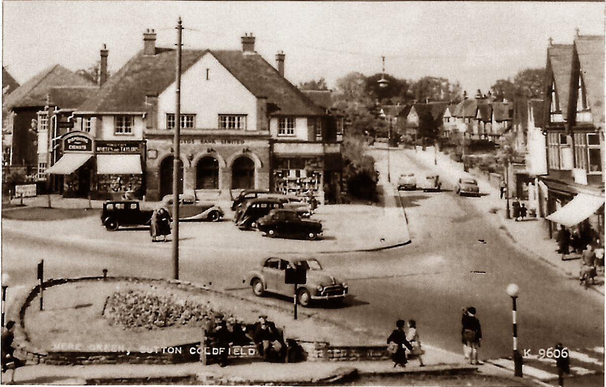 Mere Green Island at the foot of Hill Village Road c.1950